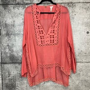 Free People One // Coral Crochet Tunic Top